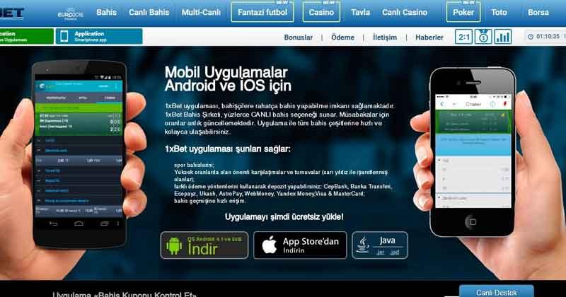 1xbet uygulamalar Android ve IOS